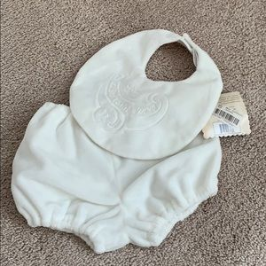 NWT white Valor diaper cover and baby bib set